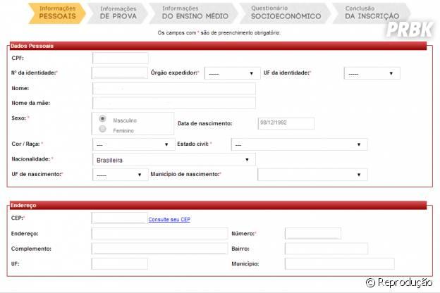 """Na primeira etapa da inscrição é preciso completar """"informações pessoais"""