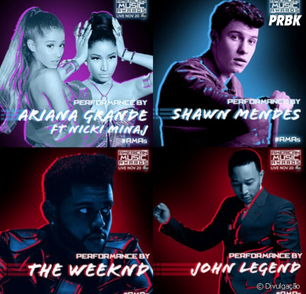 American Music Awards 2016 terá shows de Ariana Grande, Shawn Mendes, The Weeknd e John Legend