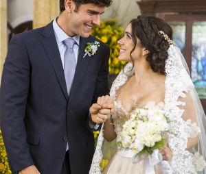 """Final """"Haja Coração"""": e não é queShirlei (Sabrina Petraglia) e Felipe (Marcos Pitombo) tiveram um casamento dos sonhos? Que sejam felizes para sempre!"""
