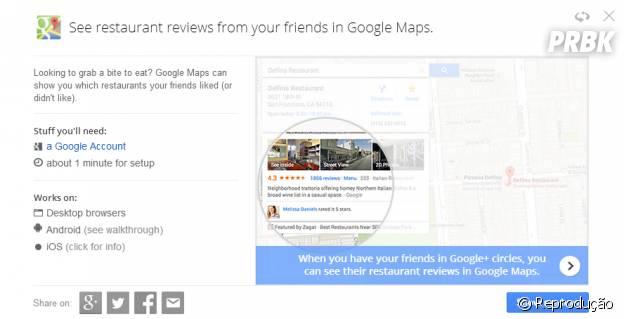 """""""Google Tips"""" explica como fazer para saber que seus amigos acharam de """"tal"""" restaurante pelo """"Google Maps"""""""