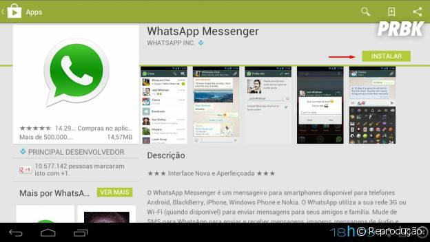 """Aperte no botão instalar para baixar """"WhatsApp"""""""