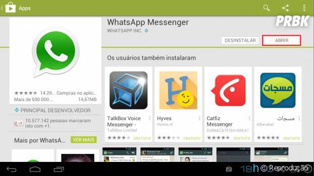 """Clique em Abrir para começar a usar o """"WhatsApp"""""""