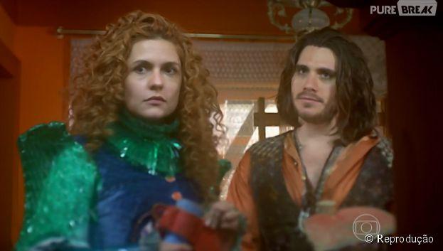 """Em """"Meu Pedacinho de Chão"""", Viramundo (Gabriel Sater) e Gina (Paula Barbosa) estão bem próximos"""