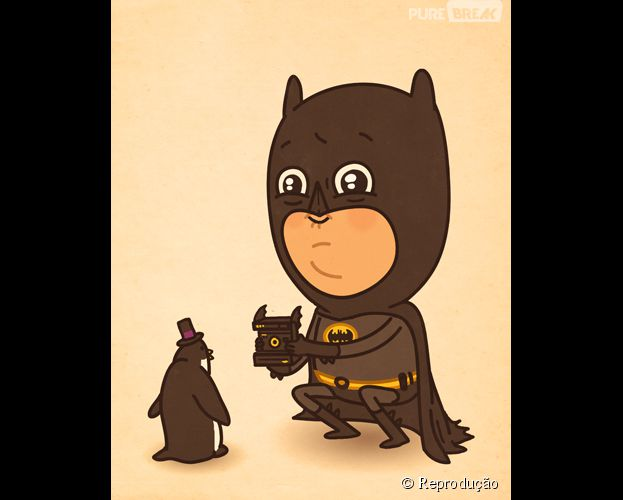 <p>Batman com novo hobby na versão do ilustrador Mike Mitchell</p>