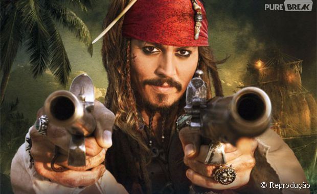 "Johnny Depp interpreta o protagonista da franquia ""Piratas do Caribe"""