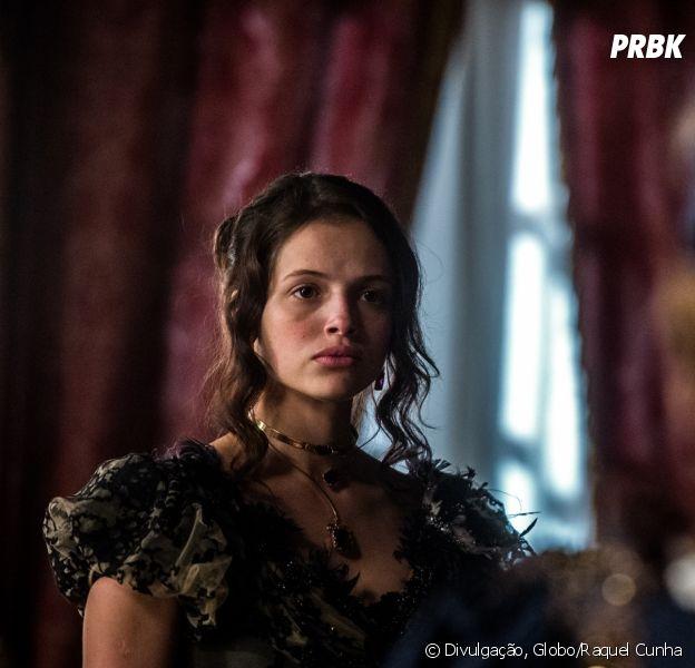 """Na novela """"Novo Mundo"""", Domitila(Agatha Moreira) fica surpresa com a presença de Leopoldina (Letícia Colin)"""