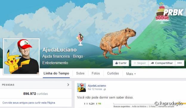 Página Ajuda Luciano no Facebook
