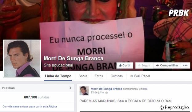 Página Morri de Sunga Branca no Facebook
