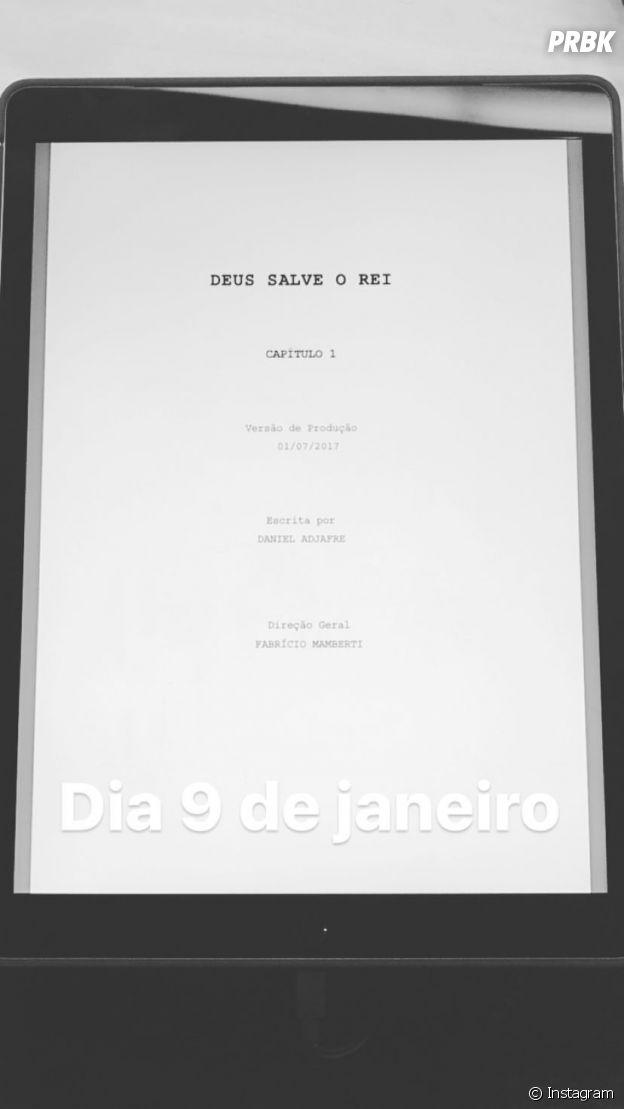 """Bruna Marquezine mostra roteiro com data de estreia de """"Deus Salve o Rei"""", sua próxima novela das 19h da Globo"""