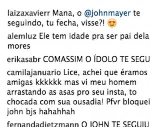 John Mayer segue Alice Wegmann no Instagram