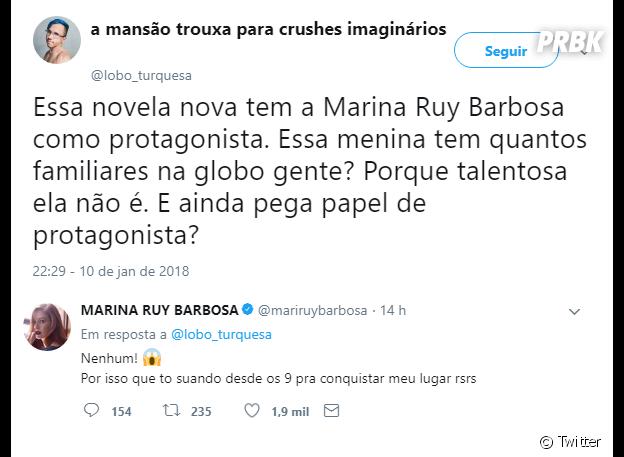 Usuário do Twitter critica talento de Marina Ruy Barbosa e atriz dá resposta atravessada