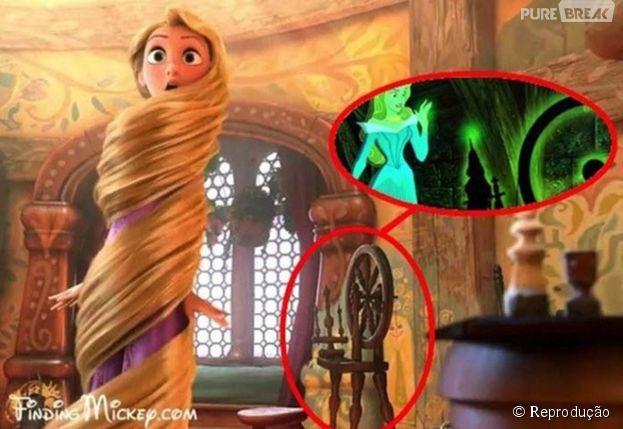 """A roca em que a Bela Adormecida espeta o dedo aparece na torre da Rapunzel, no Filme """"Enrolados"""""""