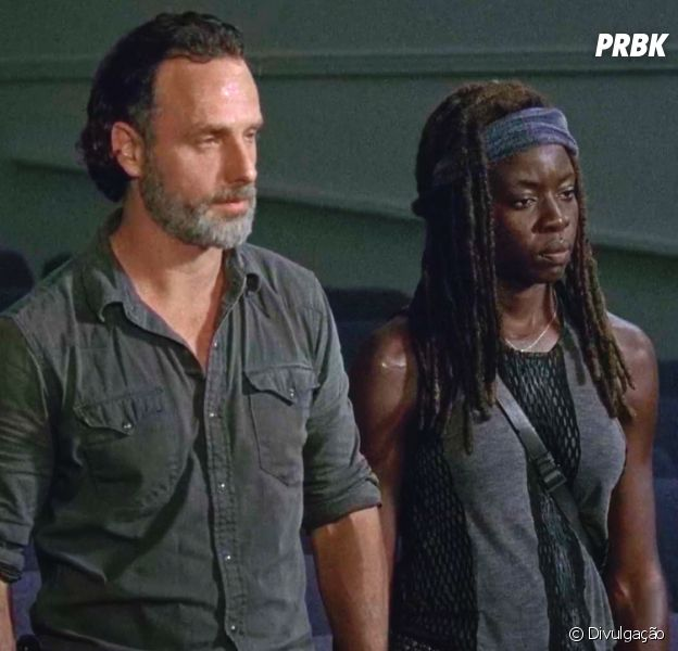 "Em ""The Walking Dead"", Rick (Andrew Lincoln) e Michonne (Danai Gurira) vão embora de Alexandria"