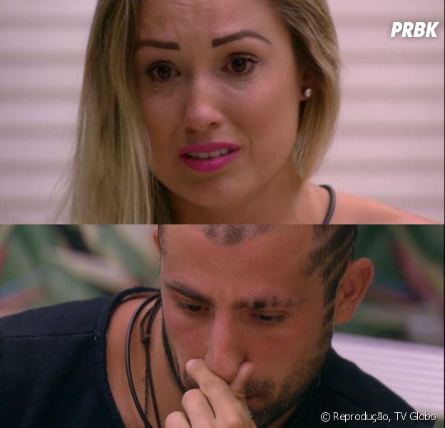 """No Paredão do """"BBB18"""", Kaysar e Jéssica lamentam ter errado no jogo"""