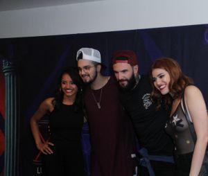 """Ana Clara, Gleici e Wagner, do """"BBB18"""", tietaram juntos o cantor Luan Santanano Rio de Janeiro, neste sábado (28)"""