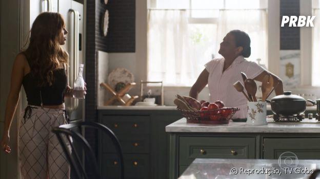 "Em ""Segundo Sol"", Rochelle (Giovanna Lancellotti) humilha a empregada, Zefa (Claudia Di Moura)"