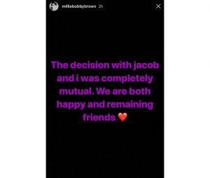 """Millie Bobby Brown, de """"Stranger Things"""", faz postagem anunciando o término de seu namoro com Jacob Sartorius"""