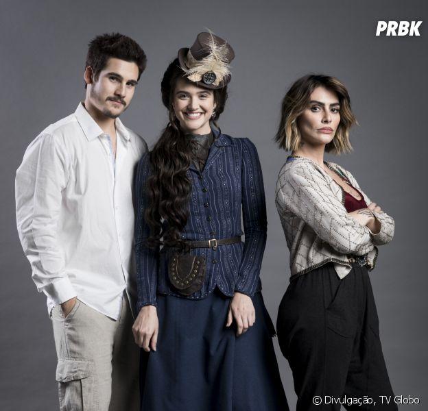 """Novela """"O Tempo Não Para"""": Betina (Cleo) flagra Samuca (Nicolas Prattes) se declarando para Marocas (Juliana Paiva)"""