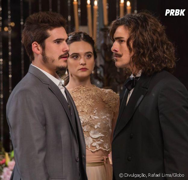 """No ar em """"O Tempo Não Para"""", jornalista revela que Nicolas Prattes e Bruno Montaleone não se dão muito bem"""