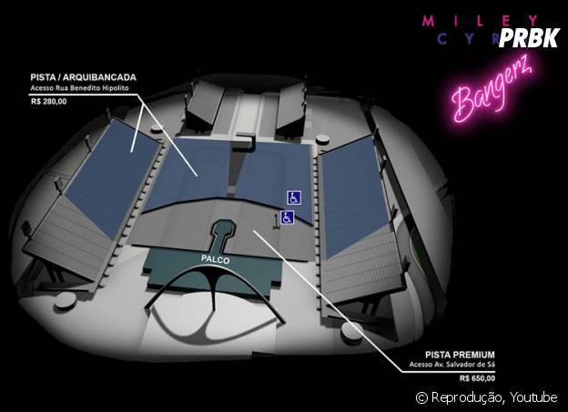 """Mapa da """"Bangerz Tour"""" no Rio de Janeiro"""