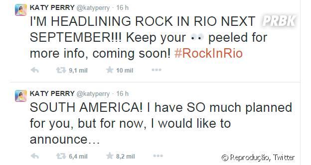 Katy Perry anunciou sua vinda ao Brasil em 2015