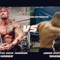 """Dwayne Johnson e Jason Statham brigam em nova foto de """"Velozes e Furiosos 7"""""""