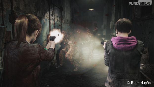 """As dupla de meninas em """"Resident Evil Revelations 2"""" detonando um dos inimigos"""