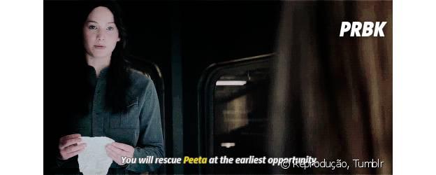 """Katniss Everdeen: """"Vocês vão resgatar o Peeta na primeira oportunidade, ou vão ter que achar outro tordo."""""""
