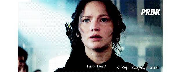 """Eddy: """"Vai lutar, Katniss? Está aqui para lutar com a gente?"""" Katniss Everdeen: """"Eu estou. Eu vou."""""""
