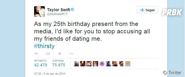 Taylor Swift desabafa prestes a completar aniversário de 25 anos