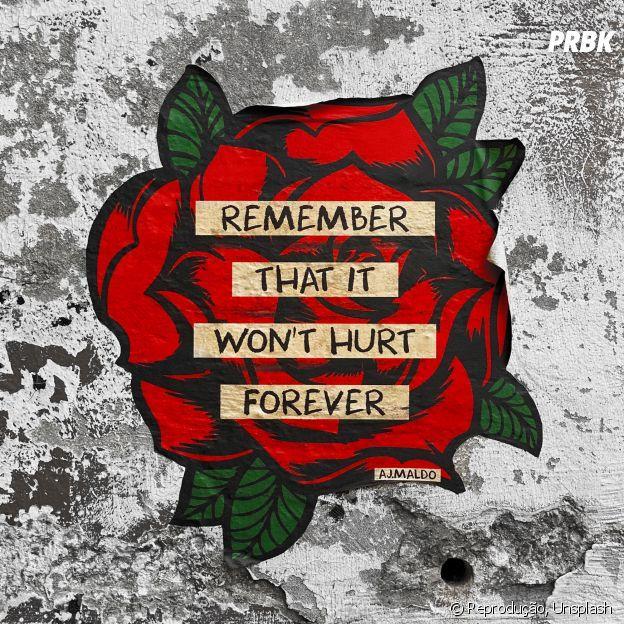 """""""Lembre-se: não vai doer para sempre"""". Serve para o processo de luto e para vida!"""